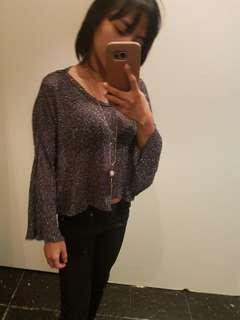 Mesh glittery black top