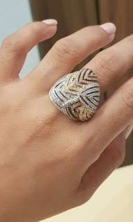 1.19ct 18k tricolor ring with diamonds size 6 1/2 HK Setting ❤️BIG SALE P138k ONLY❤️ Swipe for detailed pics  Cash/card/layaway accepted