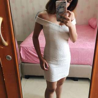 Miss Selfridge White Off Shoulder Dress
