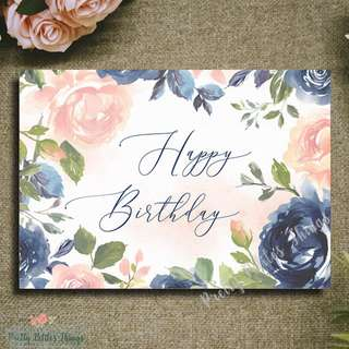 Customizable Watercolour Floral Card - Happy Birthday