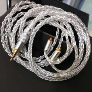 現貨)8絞冷涷7N單晶銅鍍厚銀升級線 Astell&kern 2.5mm 平衡線mmcx shure campfire westone ue900s(有保用三個月)