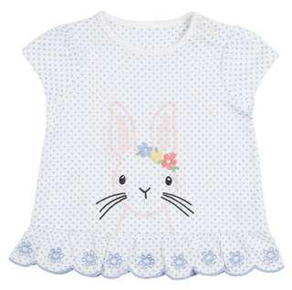【BABYWEAR】【CLOTHING】【GIRL】PCT0009 BABY GIRL BLUE RABBIT TOP SHIRT