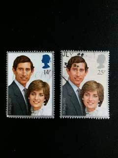 英國郵票 已銷1981年英國皇储查理斯大婚一套二全