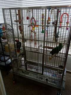 Large stainless steel parrot cage