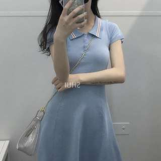 Polo knit dress light blue