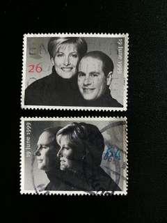 英國郵票 已銷1999年英國皇储大婚一套二全