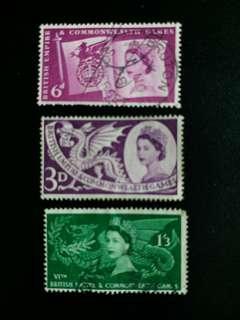 英國郵票 已銷1958年英联邦運動會一套三全