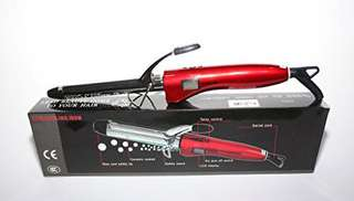 7FR20 - Professional Ceramic Hair Curling Iron Tong (Color: Red) 20MM Barrel - Instant Heat 200 Degrees - LCD Display - Temperature Control - Swivel Cord - UK PLUG - CE Certified - Safety Stand