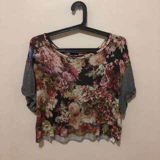 Floral Semi Cropped Top