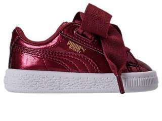 PUMA Girls Kids Basket Heart Glam Casual Shoes