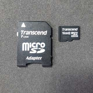 Transcend 16GB microSDHC card with SD Adapter