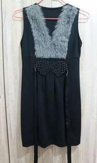 Black dress with a furr