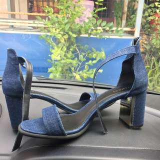 Denim Ankle Strap Heel