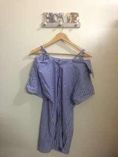 Stripped Cold shoulder Dress