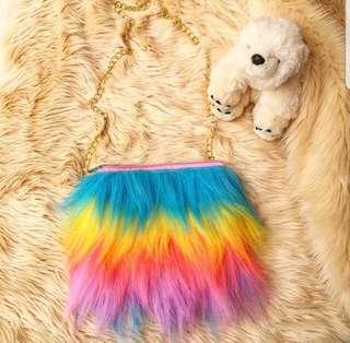 Tas bulu rainbow unicorn