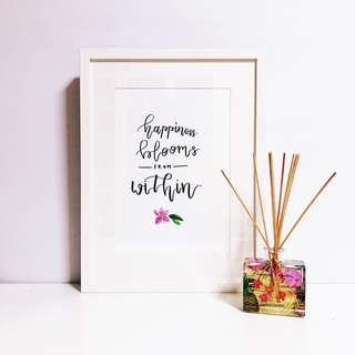 Calligraphy + Flower Hand-Drawn Original Artpiece