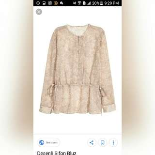 Used Once H&M Beige Printed Chiffon Top Blouse