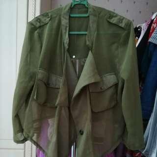 Army green chiffon