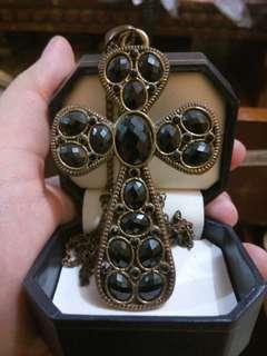 Black & Gold Cross Necklace