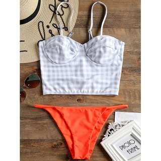 Plaid Underwire Bustier Bikini Set TG