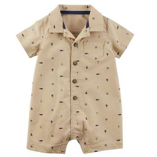 🚚 CABY121 Carter's Baby Boys Schiffli Print Snap-Up Cotton Romper