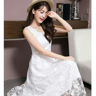 Elegant Women Lace White Sleeveless Long Dress Beach Dinner