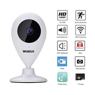 WIMIUS IP Camera, 720P Wifi Wireless Security Camera with Two Way Audio, Motion Detection, Night Vision, Memory Card Slot for Baby/Elder/Pet/Nanny/Office Monitor