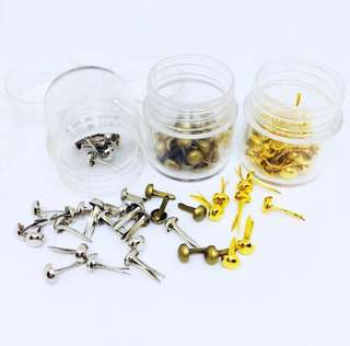 🚚 Price reduced! BN Scrapbook brads; Assorted [Silver, Bronze, Gold]