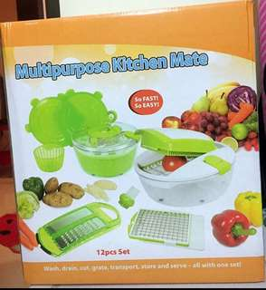 Brand new Multipurpose Kitchen Mates 12pcs set for wash, drain, cut, grate, transport, store and serve.