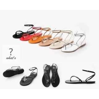 🚚 Korea 👡 時尚細帶百搭夾趾平底涼鞋