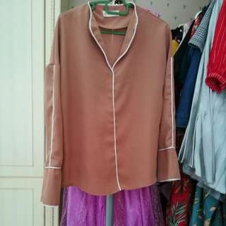 Nude brown blouse