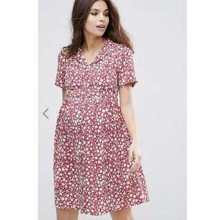 ASOS Maternity Red Flora Tea Dress