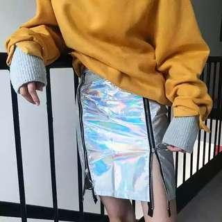 Holographic Silver Ring Slit Skirt