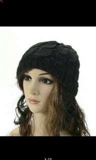 Women Knit Winter Crochet Hat Braided Baggy Beret