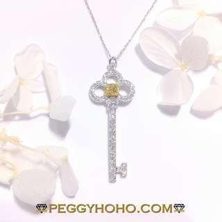 【Peggyhoho】全新18K白金31份彩黃鑽石配39份真鑽石鎖匙吊墜 吊咀 |經典靚款|潮爆Key Pendent 款