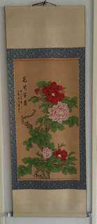 Chinese scroll Painting花开富贵牡丹图