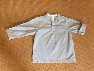 (9-18 mos) H&M pinstriped mandarin collar polo shirt