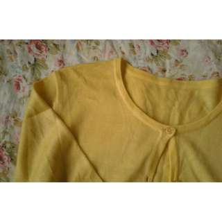 Knitted Yellow Cardigan with Embroidery