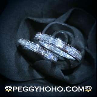 【Peggyhoho】全新18K白金共3卡28份方鑽石戒指一對 band|全渾身逼鑲方鑽| Eternity Ring 對裝 情侶戒指 結婚