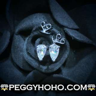 【Peggyhoho】全新18K白金80份 閃爆鑽石耳環一對|罕有梨型鑽石 Pear |超值耳環一對
