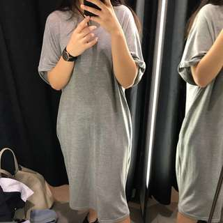 Oversized Grey Midi Dress
