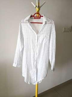 Korean styled long checks grid button blouse free size
