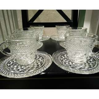 Crystal Cups & Saucers (set of 6)