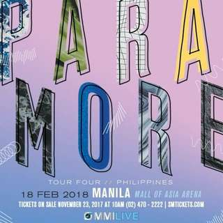 Paramore Concert Ticket in Manila August 23!!