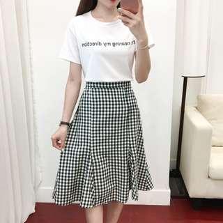 [PRE-ORDER] Women Checkered Skirt Blouse Set Ladies Fashion Plus Size Dress [White/Black]