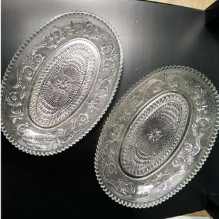 Oval Crystal Serving Dish (set of 2)