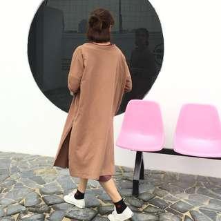 [PRE-ORDER] Women Long Cardigan Jacket Retro Fashion Loose Chic Windbreaker [Old Rose/Yellow/Pink/Light Grey/Dark Grey]