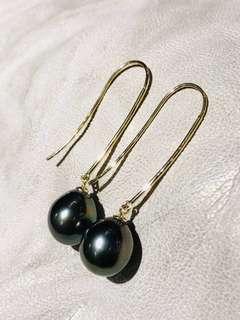 18K Gold Tahitian Saltwater Pearl Teardrop Earring