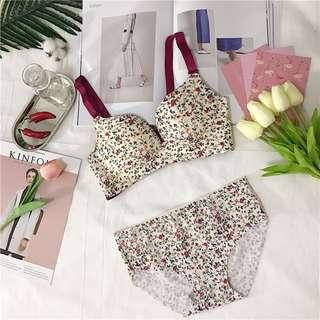 [PRE-ORDER] Women Floral Rimless Bra High Waist Underwear Cup C Lingerie Set [White/Black/Blue]