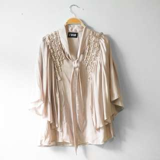 Champagne Tie Up Satin Ruffle Batwing Top, Size L-XL